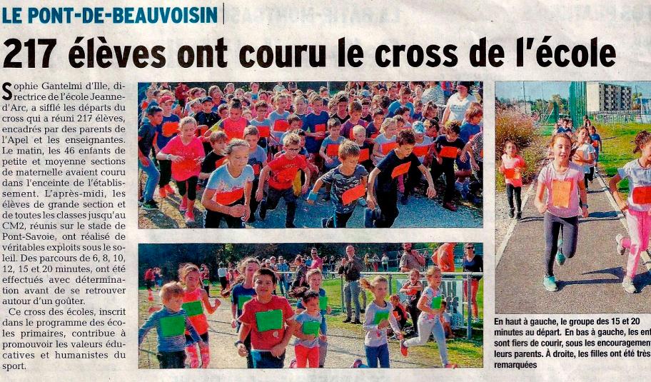 Article de presse cross école Jeanne d'Arc
